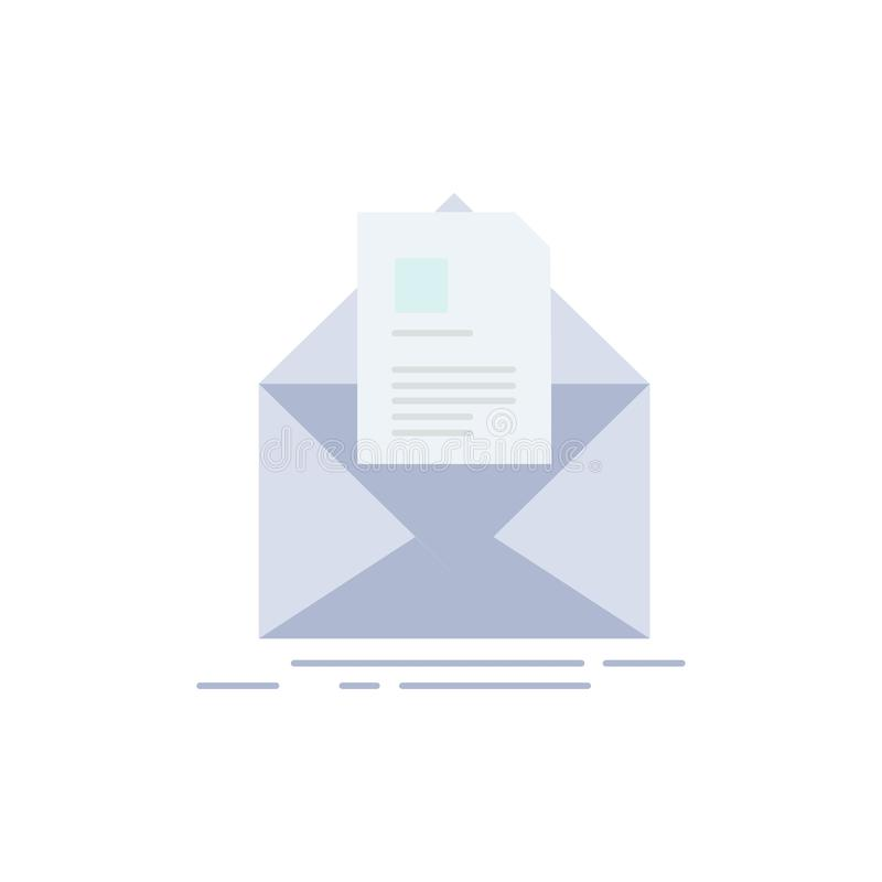 mail, contract, letter, email, briefing Flat Color Icon Vector stock illustration