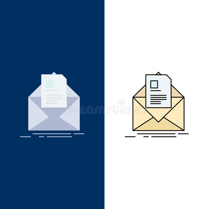 mail, contract, letter, email, briefing Flat Color Icon Vector royalty free illustration