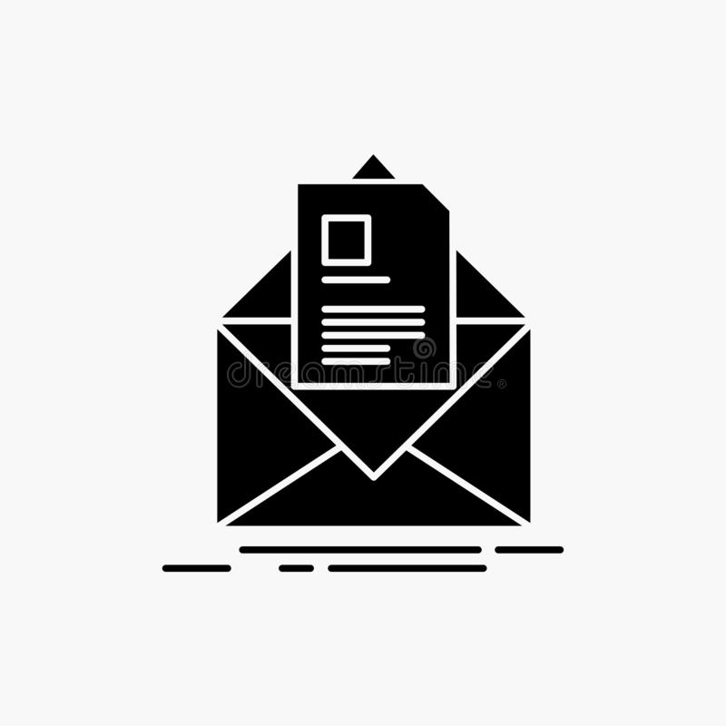Mail, contract, letter, email, briefing Glyph Icon. Vector isolated illustration. Vector EPS10 Abstract Template background stock illustration