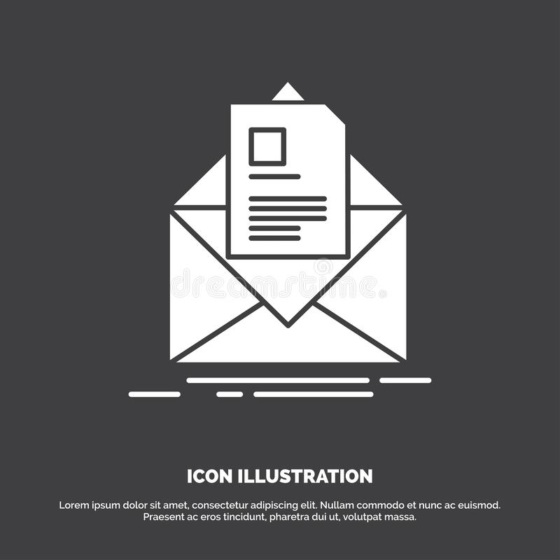 mail, contract, letter, email, briefing Icon. glyph vector symbol for UI and UX, website or mobile application stock illustration