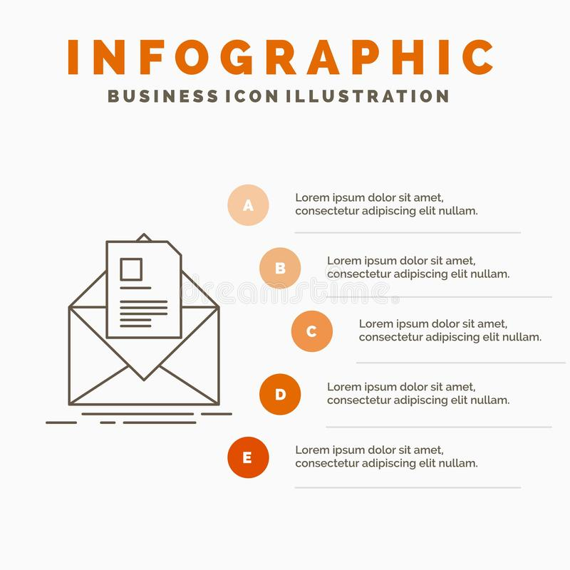 mail, contract, letter, email, briefing Infographics Template for Website and Presentation. Line Gray icon with Orange infographic vector illustration