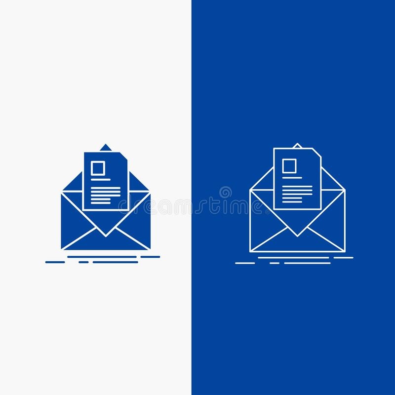 Mail, contract, letter, email, briefing Line and Glyph web Button in Blue color Vertical Banner for UI and UX, website or mobile. Application. Vector EPS10 stock illustration