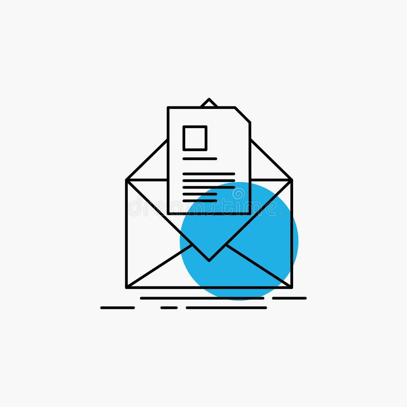 Mail, contract, letter, email, briefing Line Icon. Vector EPS10 Abstract Template background vector illustration