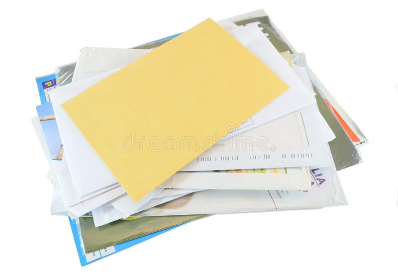 Mail correspondence. Stack of mail correspondence isolated on white background