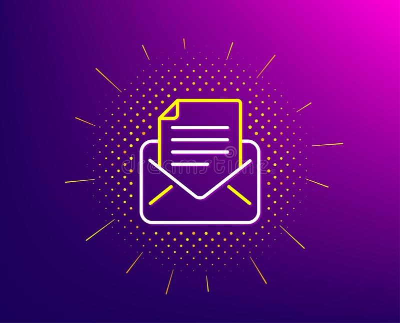 Mail correspondence line icon. Read Message sign. Vector. Mail correspondence line icon. Halftone pattern. Read Message sign. E-mail symbol. Gradient background vector illustration
