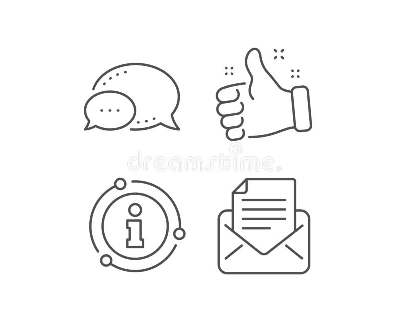Mail correspondence line icon. Read Message sign. Vector. Mail correspondence line icon. Chat bubble, info sign elements. Read Message sign. E-mail symbol vector illustration