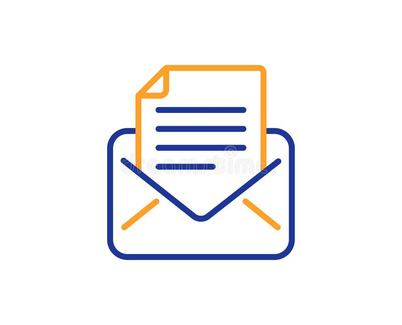 Mail correspondence line icon. Read Message sign. Vector. Mail correspondence line icon. Read Message sign. E-mail symbol. Colorful outline concept. Blue and stock illustration