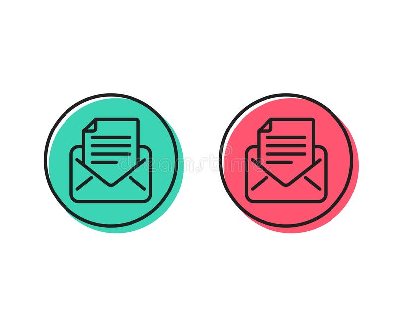 Mail correspondence line icon. Read Message sign. Vector. Mail correspondence line icon. Read Message sign. E-mail symbol. Positive and negative circle buttons stock illustration