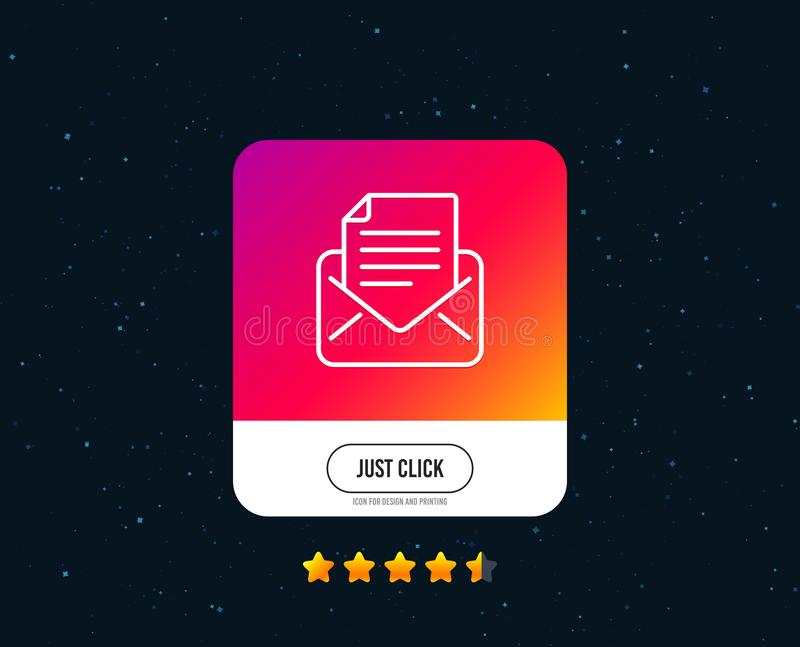 Mail correspondence line icon. Read Message sign. Vector. Mail correspondence line icon. Read Message sign. E-mail symbol. Web or internet line icon design royalty free illustration