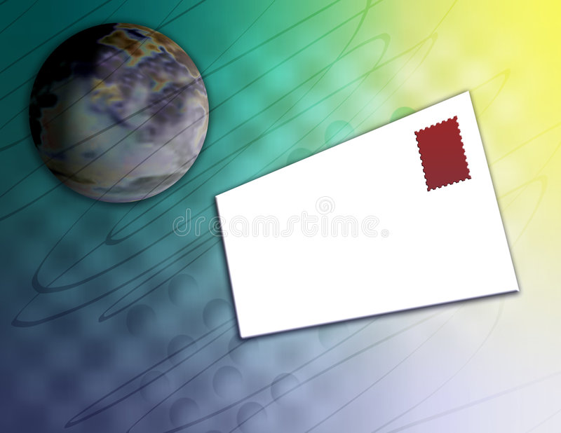 Mail Delivery. Computer generated image concept. Letter circling the globe for delivery. Blank envelope, space for your message vector illustration