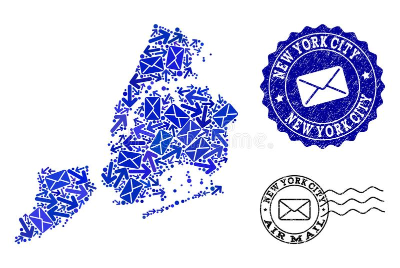 Mail Delivery Collage of Mosaic Map of New York City and Grunge Stamps royalty free illustration