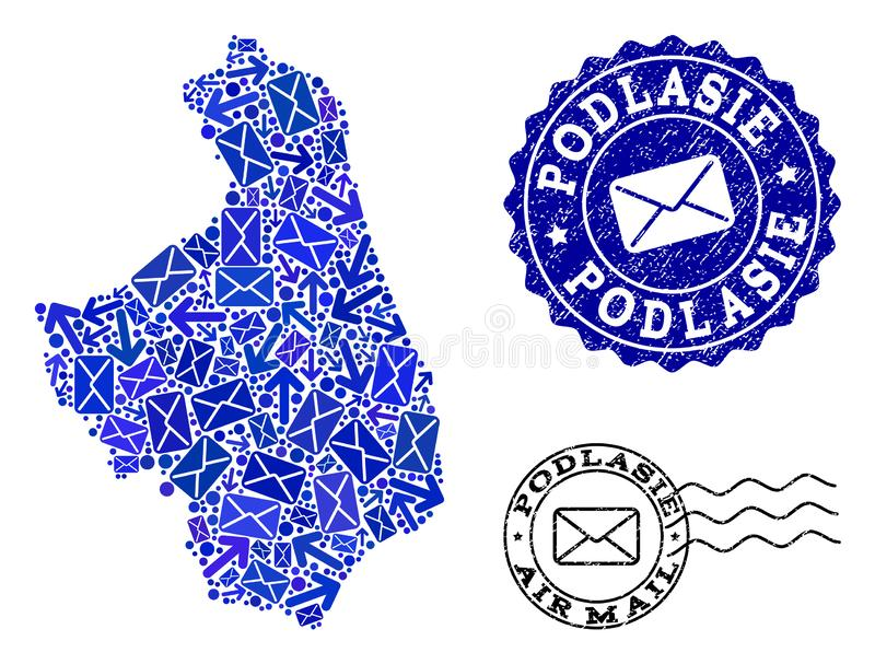 Mail Delivery Collage of Mosaic Map of Podlasie Province and Grunge Seals. Mail combination of blue mosaic map of Podlasie Province and rubber stamps. Vector vector illustration