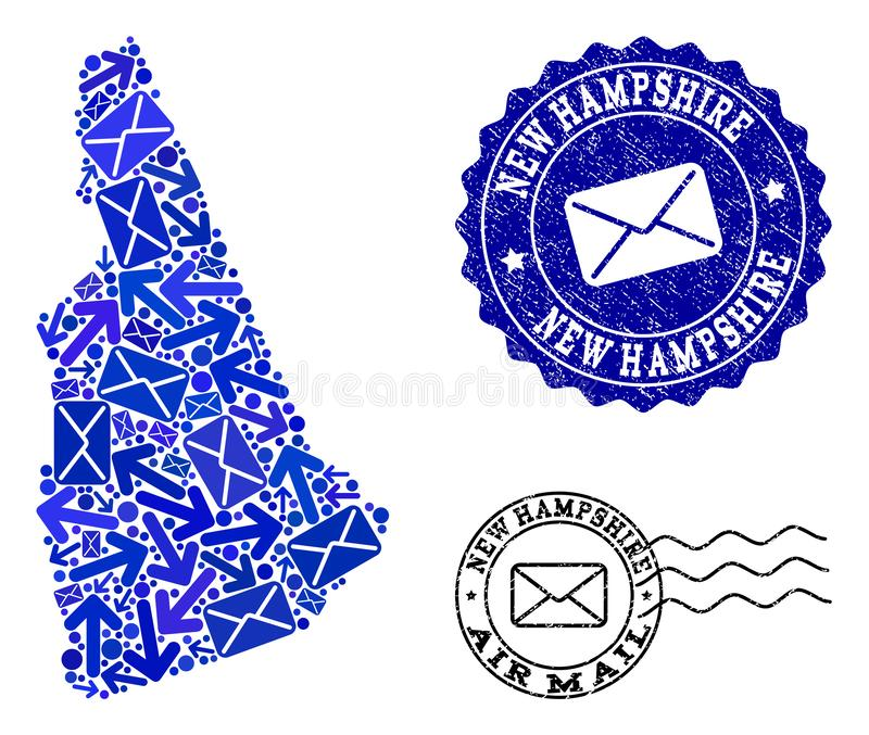 Mail Delivery Composition of Mosaic Map of New Hampshire State and Scratched Seals royalty free illustration