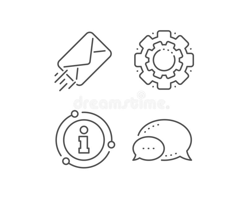 Mail delivery line icon. Message correspondence sign. Vector. Mail delivery line icon. Chat bubble, info sign elements. Message correspondence sign. E-mail royalty free illustration