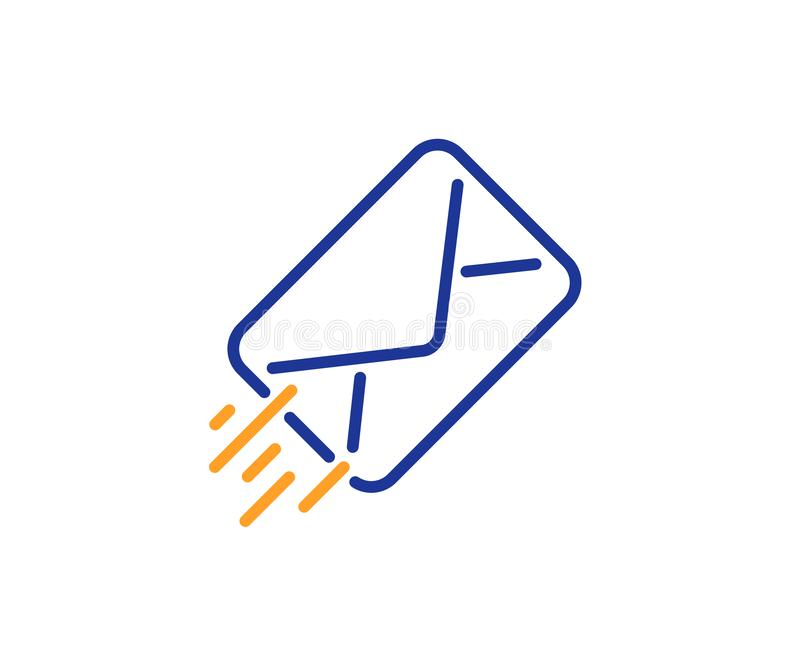 Mail delivery line icon. Message correspondence sign. Vector. Mail delivery line icon. Message correspondence sign. E-mail symbol. Colorful outline concept. Blue royalty free illustration