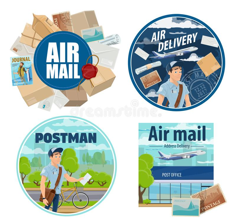 Mail delivery, postman and post parcels vector illustration