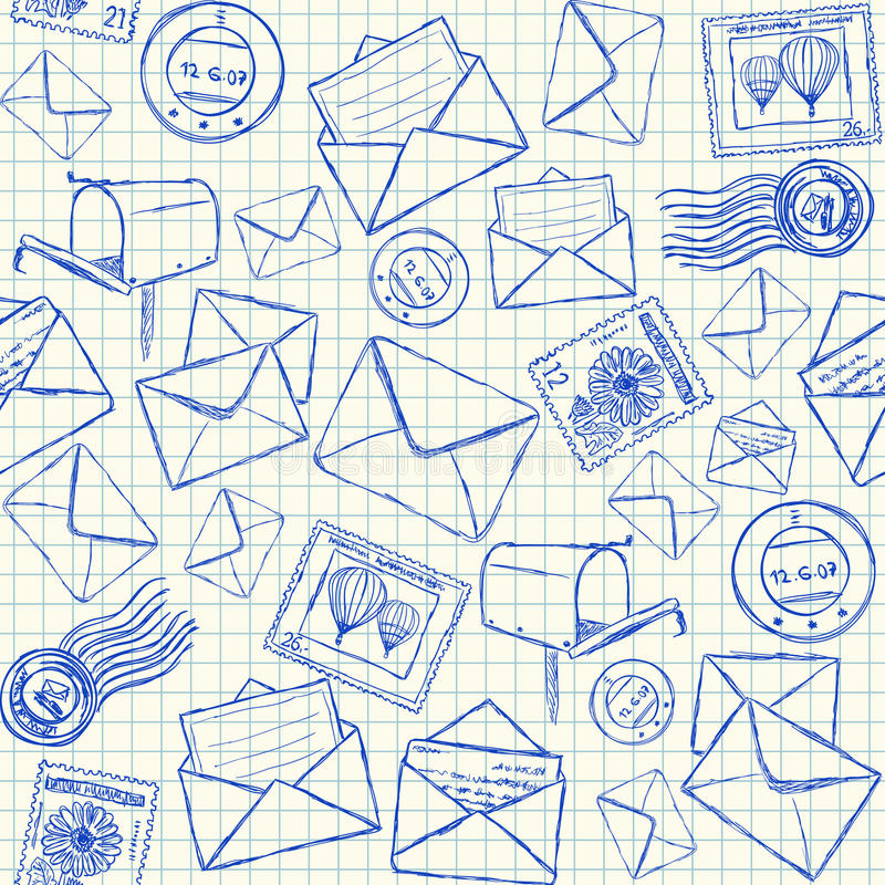 Download Mail Doodles Seamless Pattern Stock Vector - Image: 31239933