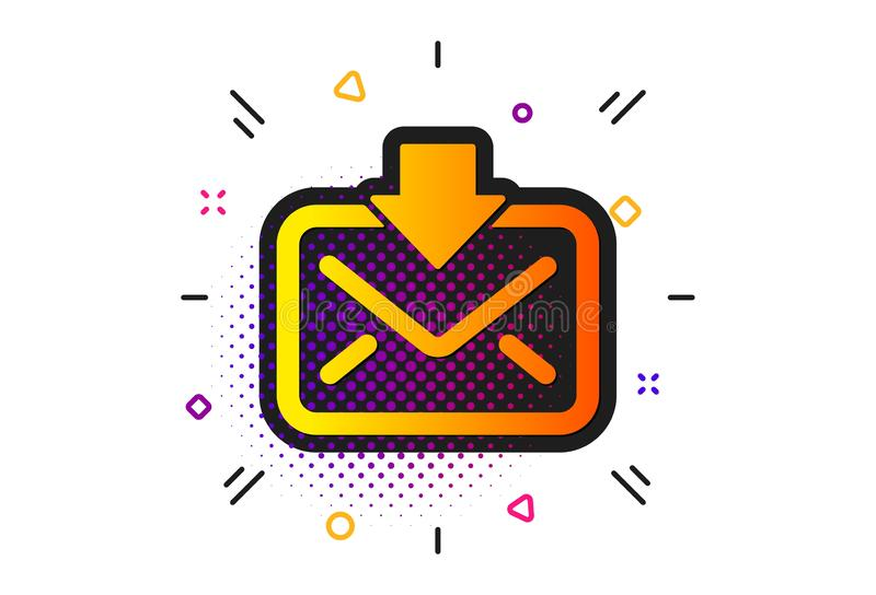 Mail download icon. Incoming Messages correspondence sign. Vector. Incoming Messages correspondence sign. Halftone circles pattern. Mail download icon. E-mail royalty free illustration