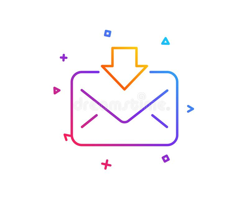 Mail download line icon. Incoming Messages correspondence sign. Vector. Mail download line icon. Incoming Messages correspondence sign. E-mail symbol. Gradient stock illustration