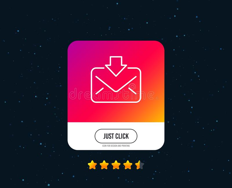 Mail download line icon. Incoming Messages correspondence sign. Vector. Mail download line icon. Incoming Messages correspondence sign. E-mail symbol. Web or royalty free illustration