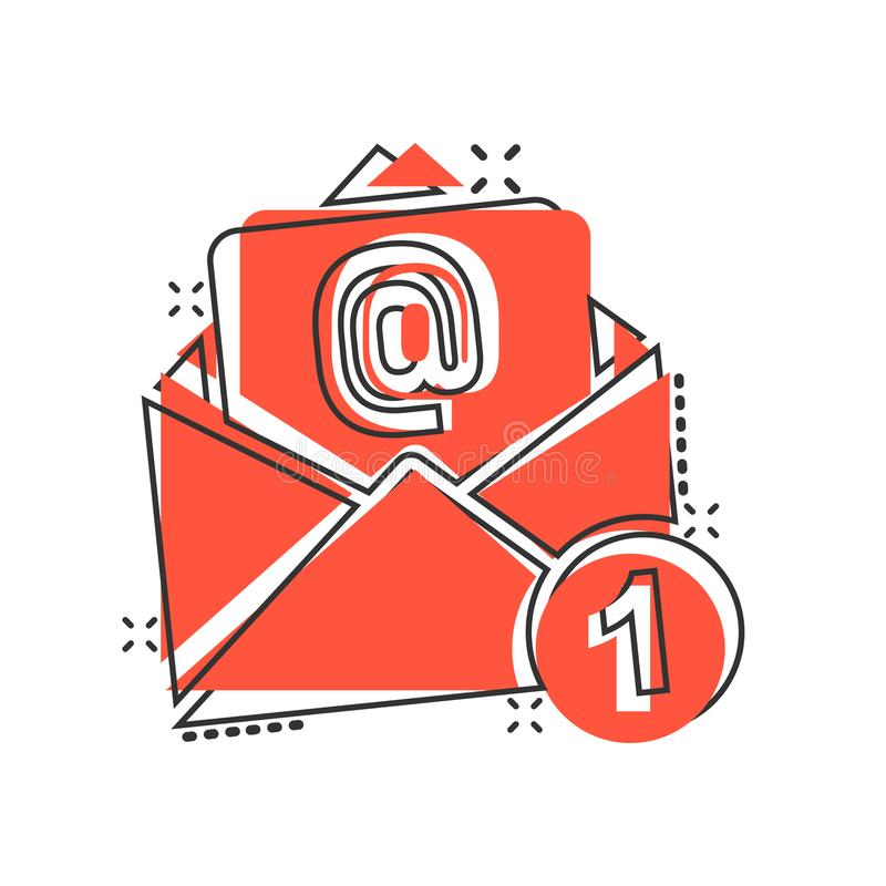 Mail envelope icon in comic style. Email message vector cartoon illustration pictogram. Mailbox e-mail business concept splash. Effect royalty free illustration