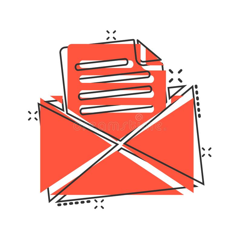 Mail envelope icon in comic style. Email message vector cartoon illustration pictogram. Mailbox e-mail business concept splash. Effect stock illustration