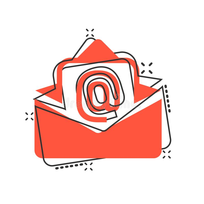 Mail envelope icon in comic style. Email message vector cartoon illustration pictogram. Mailbox e-mail business concept splash. Effect vector illustration