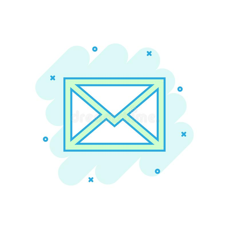 Mail envelope icon in comic style. Email message vector cartoon illustration pictogram. Mailbox e-mail business concept splash stock illustration