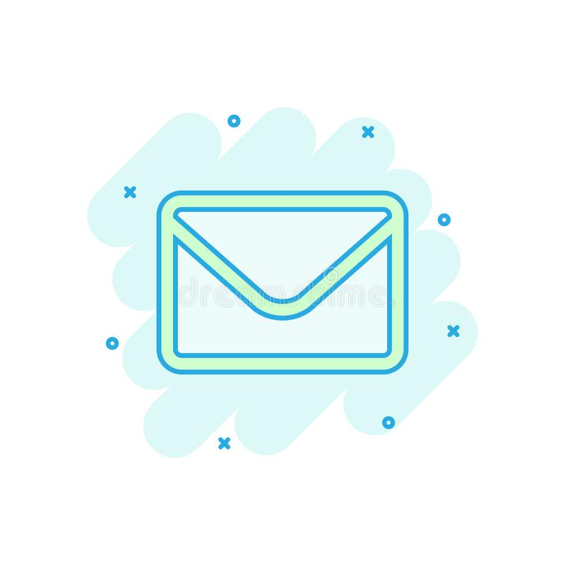 Mail envelope icon in comic style. Receive email letter spam vector cartoon illustration pictogram. Mail communication business stock illustration