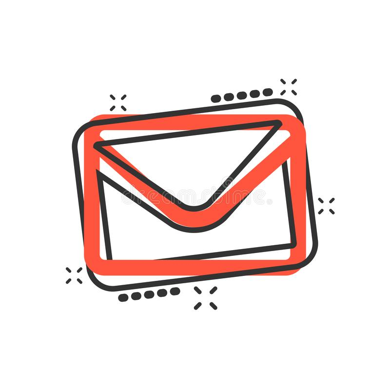 Mail envelope icon in comic style. Receive email letter spam vector cartoon illustration pictogram. Mail communication business. Concept splash effect royalty free illustration