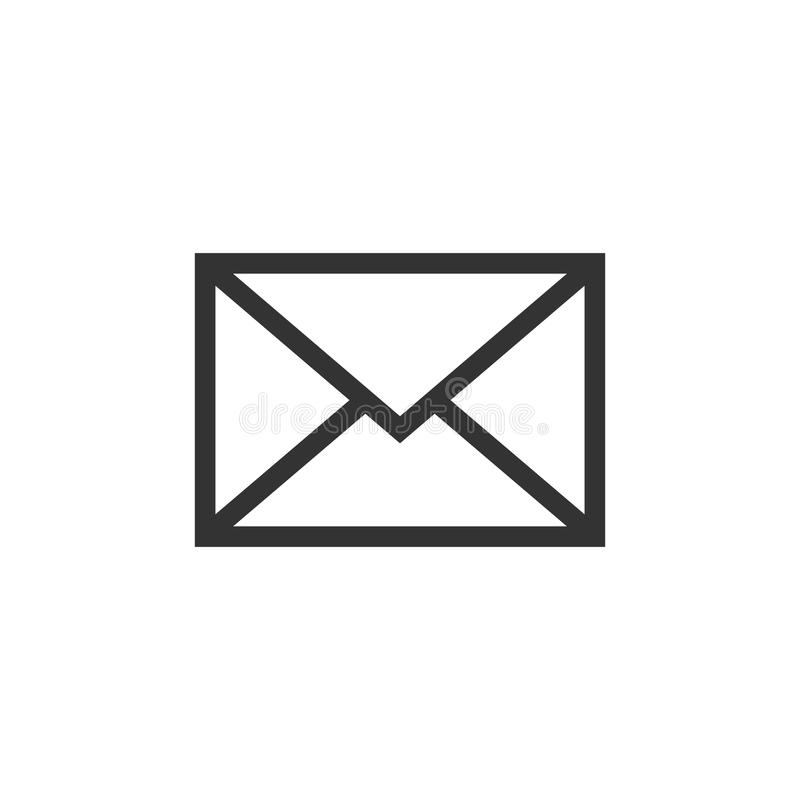 Mail envelope icon in flat style. Email message vector illustration on white isolated background. Mailbox e-mail business concept. royalty free illustration