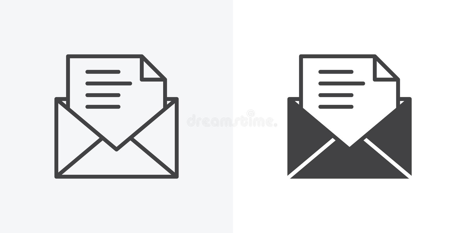 Mail envelope icon. Line and glyph version, Email, message outline and filled vector sign. Open envelope document file linear and full pictogram. Symbol, logo vector illustration