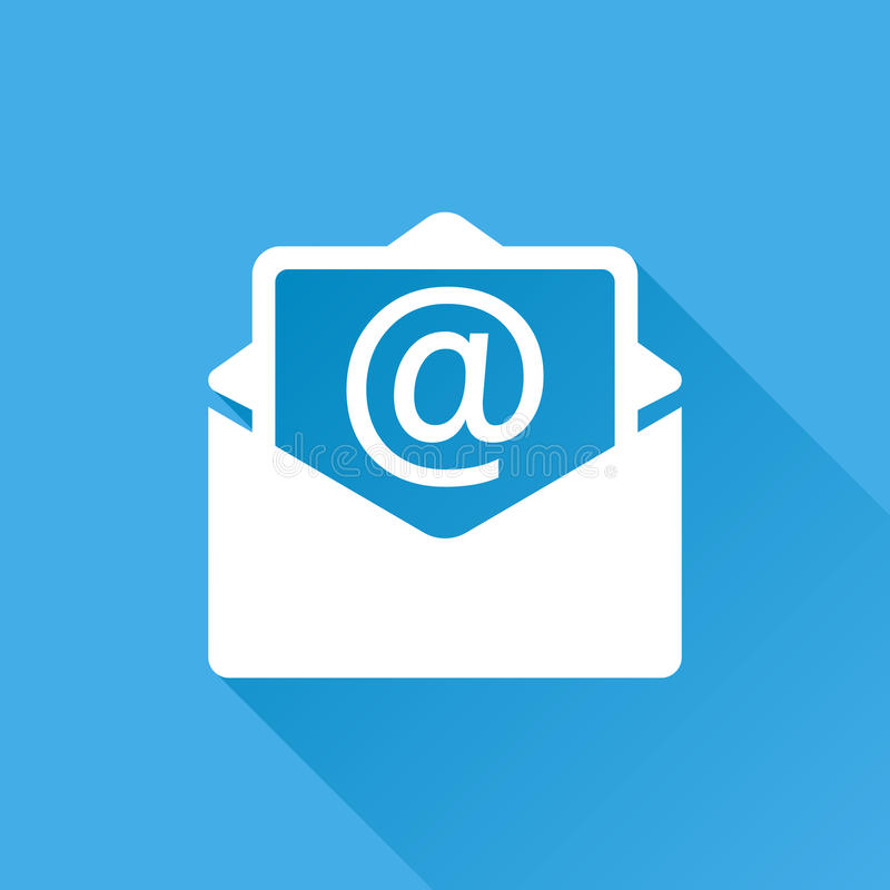 Mail envelope icon vector isolated on blue background with long royalty free illustration