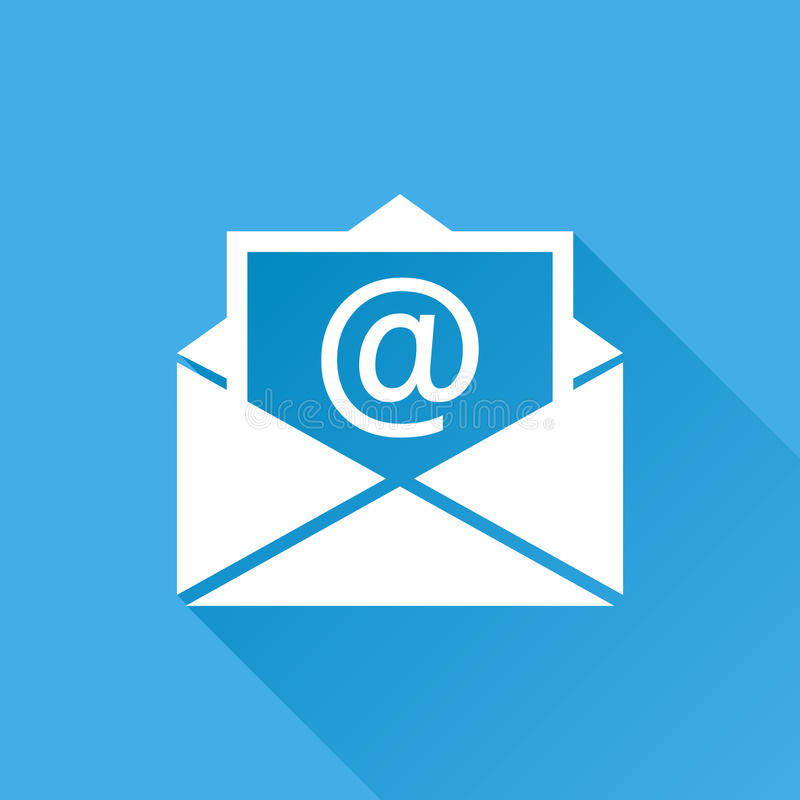 Mail envelope icon vector isolated on blue background with long stock illustration