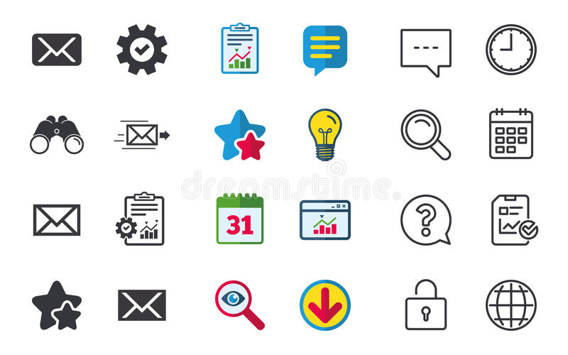 Mail Envelope Icons Message Symbols Stock Vector Illustration Of