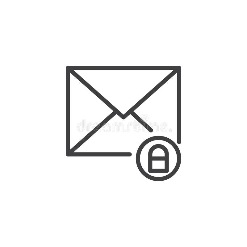 Mail envelope and lock line icon royalty free illustration