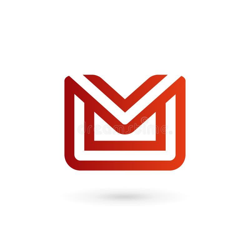 Letter m mail envelope logo icon design template elements. Mail envelope logo icon design stock illustration