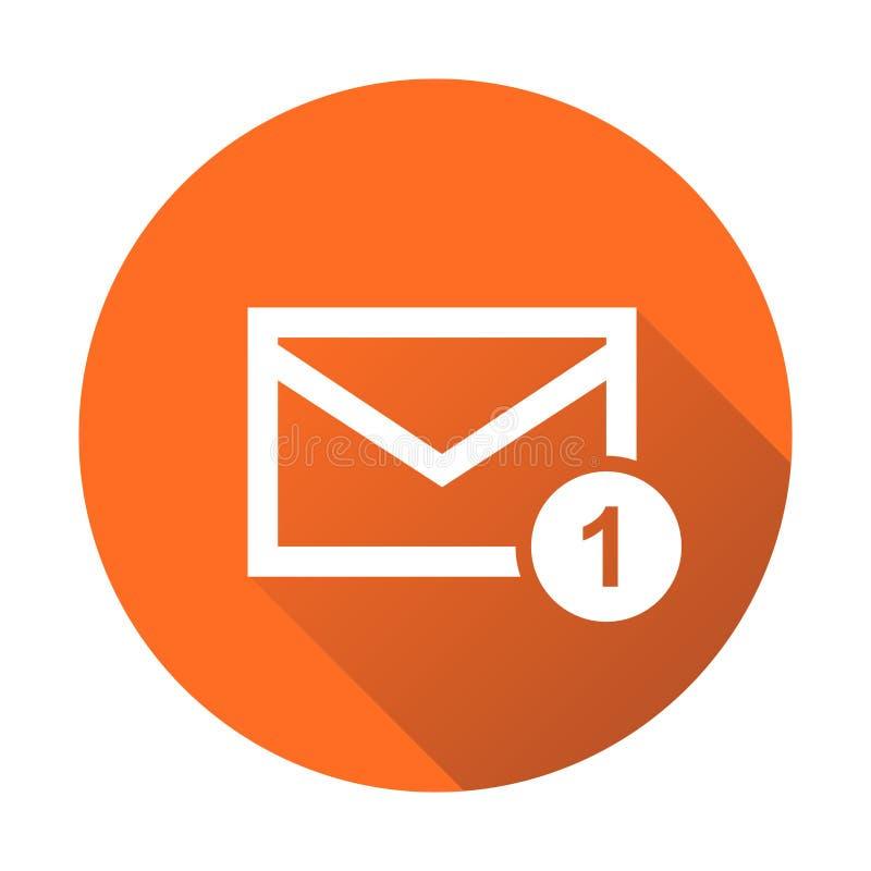 Mail envelope message. Vector illustration in flat style on round orange background. stock illustration