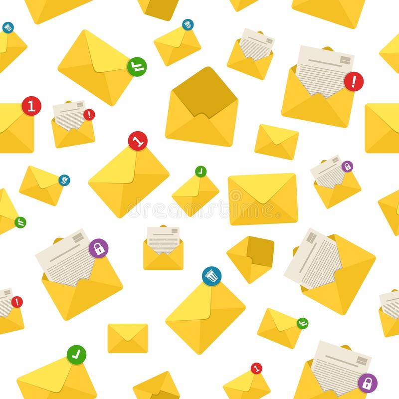Mail envelope notifications, message communication background seamless pattern. stock illustration