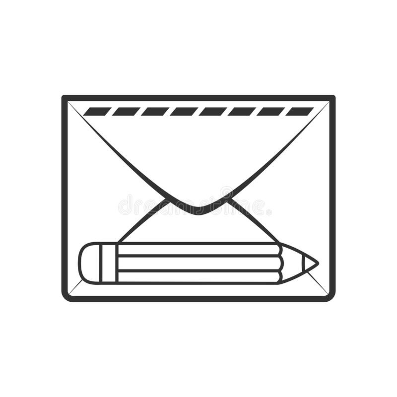 Mail Envelope with Pencil Outline Flat Icon. Mail envelope outline flat icon with small pencil, isolated on white background. Eps file available royalty free illustration
