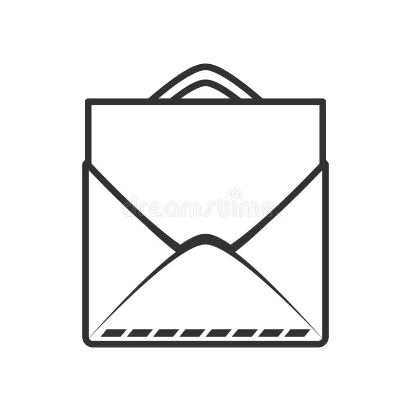 Mail Envelope with Sheet Outline Flat Icon. Mail envelope outline flat icon with blank sheet, isolated on white background. Eps file available royalty free illustration