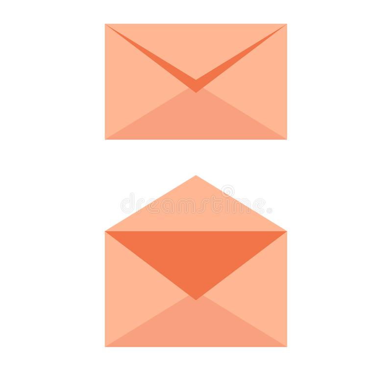 Mail envelope soft orange icon - opened an closed. Email send concept vector vector illustration
