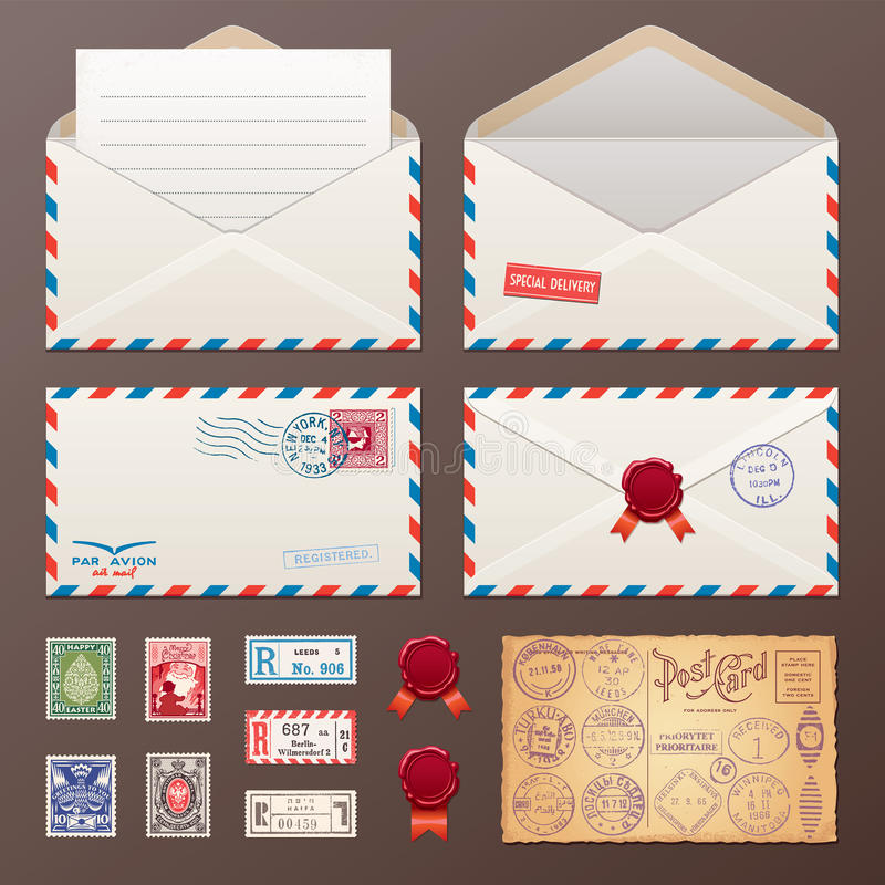 Mail Envelope, Stickers, Stamps, Postcard royalty free illustration