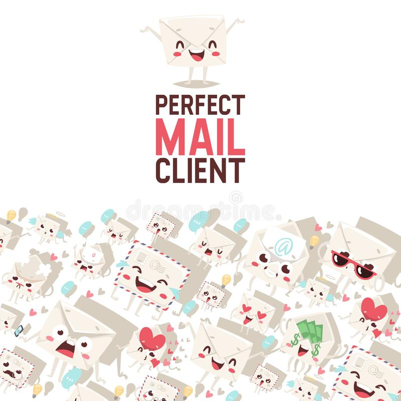 Mail envelope vector mailed post emoticon mailing lovely message letter kawaii email character backdrop emailing royalty free illustration