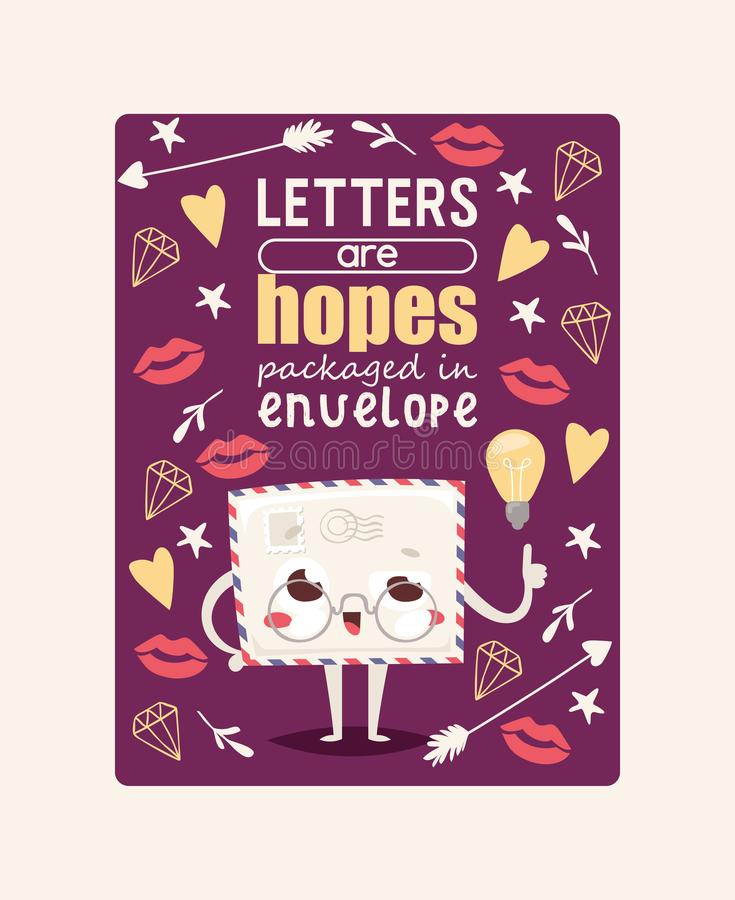 Mail envelope vector mailed post emoticon mailing lovely message letter kawaii email character with lips heart star stock illustration