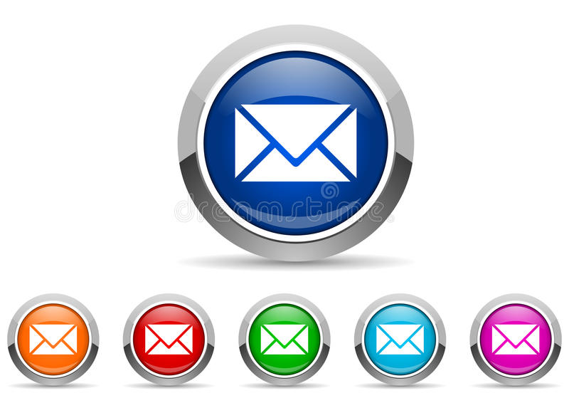 Mail glossy icons. On white background stock illustration