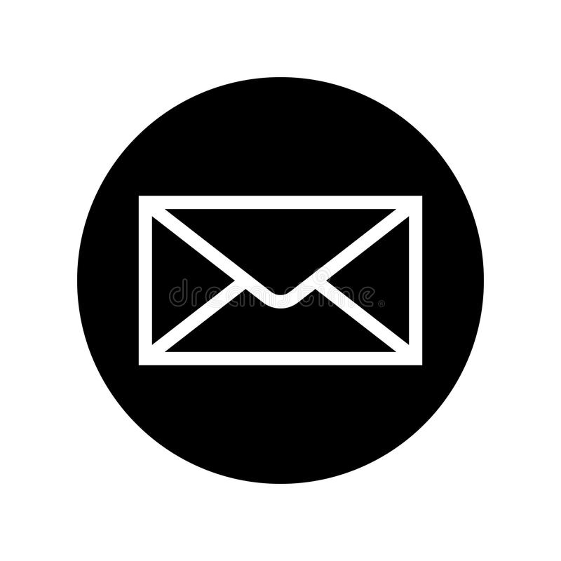 Mail icon in black circle. Envelope symbol. In flat style isolated on white background. Simple abstract letter icon in black and white. Vector illustration for royalty free illustration