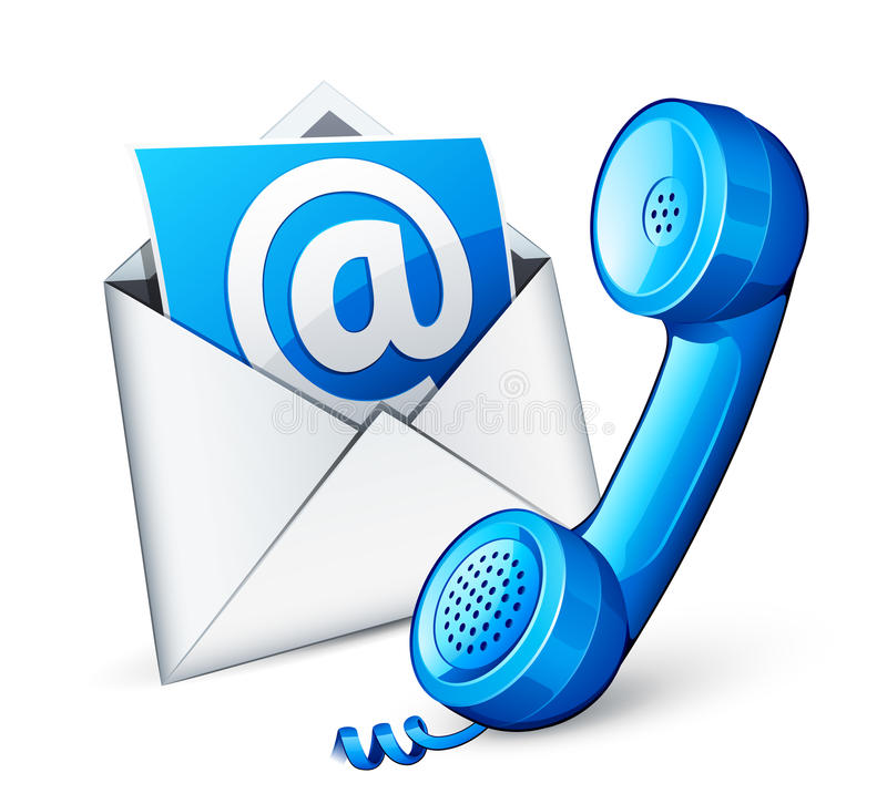 Mail icon and blue phone. Isolated on white royalty free illustration