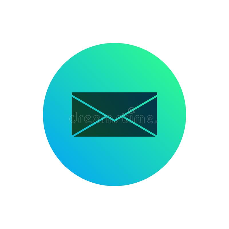 Mail icon or button. Envelope sign on round gradient background royalty free illustration