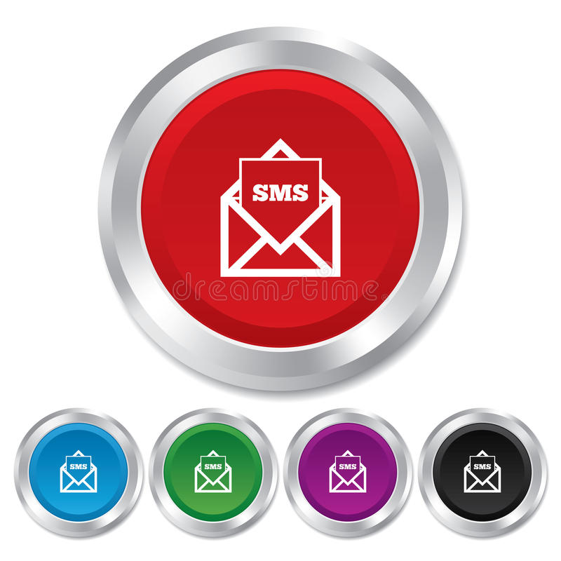 Mail icon. Envelope symbol. Message sign. Mail icon. Envelope symbol. Message sms sign. Mail navigation button. Round metallic buttons stock illustration